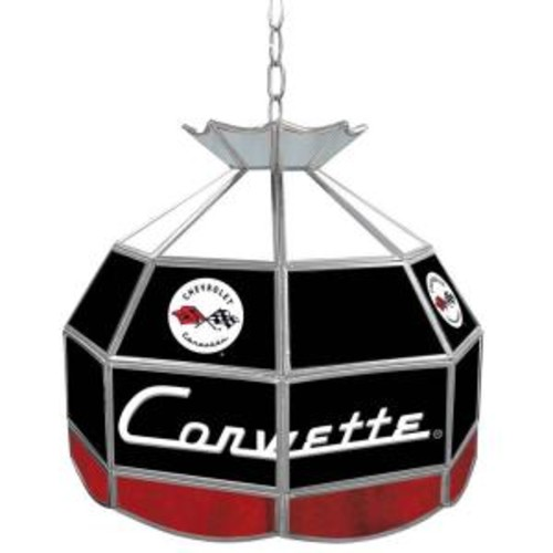 Trademark Global Corvette 16 in. Silver Hanging Tiffany Style Billiard Lamp