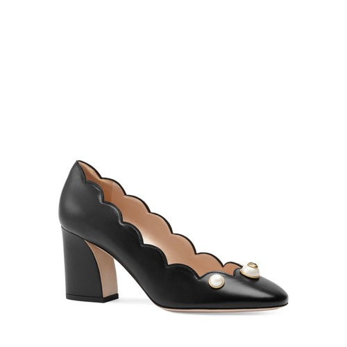 GUCCI Willow Scalloped Block Heel Pumps