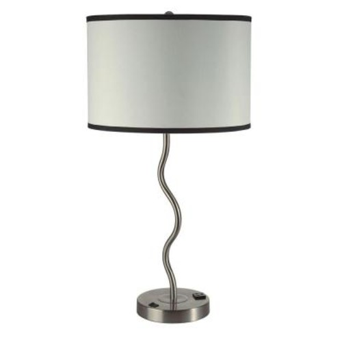 ORE International 28.5 in. H Chrome Ivory Wave Table Lamp with Convenient Outlet, Adjustable Bulb Socket