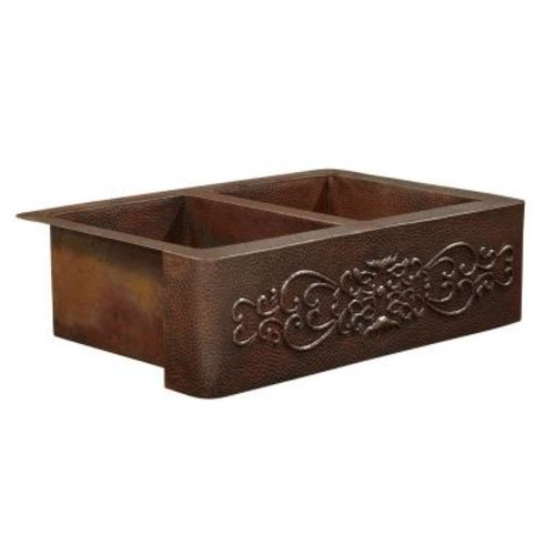 SINKOLOGY Bernini Farmhouse Apron Front Handmade Pure Solid Copper 42 in. Double Bowl 50/50 Kitchen Sink with Scroll Design