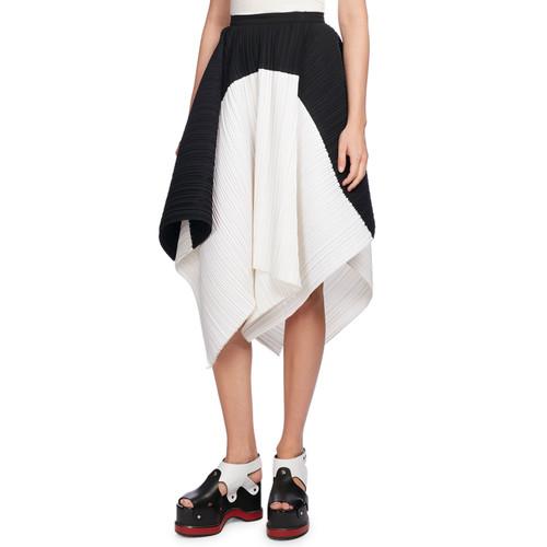 PROENZA SCHOULER Plissé Colorblock Asymmetric-Hem Skirt