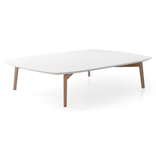 Match Rectangular Coffee Table [Table Top : P94 Matt Optic White Lacquer; Frame : P12 Smoke Ash Wood]