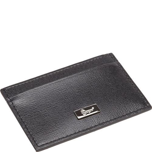 Royce Leather RFID Blocking Slim Card Case Wallet in Saffiano Leather Black [option : Black]