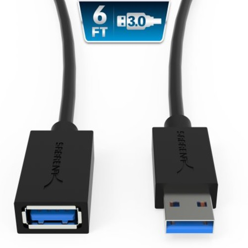 Sabrent CB-3060 6ft Male USB 3.0 to Female USB 3.0 Extension Cable - Black