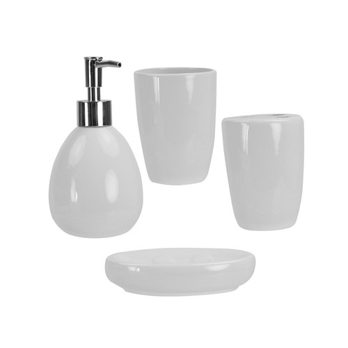HOME basics 4-Piece Bath Accessory Set in White