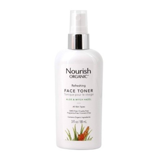 Nourish Organic Face Toner, Rosewater + Witch Hazel, 3 Fl Oz