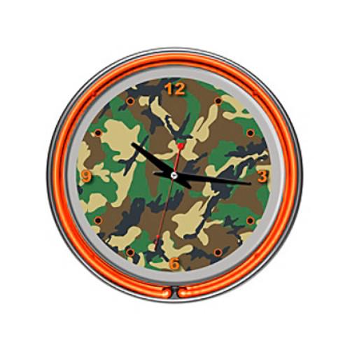 Trademark Global Hunting Camo Chrome Double-Ring Neon Clock