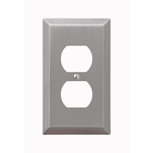 Amerelle 1 gang Brushed Nickel Stamped Steel Duplex Outlet Wall Plate 1 pk(163DBN)