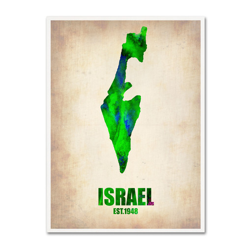 Trademark Global Naxart 'Israel Watercolor Map' Canvas Art [Overall Dimensions : 18x24]