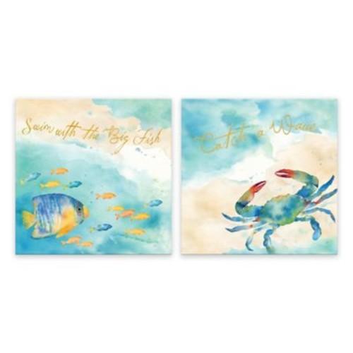 Sea Splash Sentiments Printed Canvas Wall Art (Set of 2)