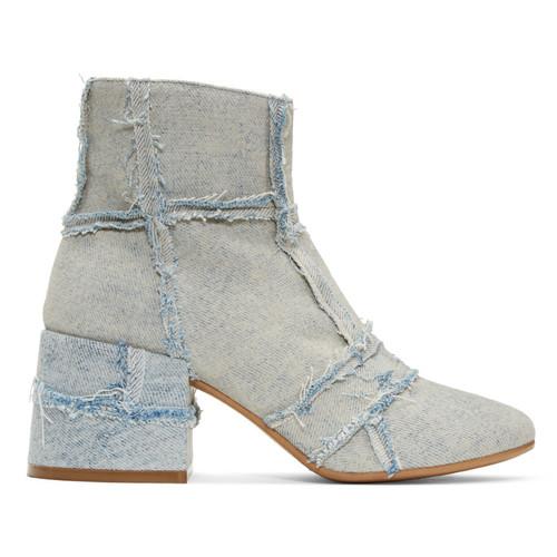 Blue Denim Cube Boots