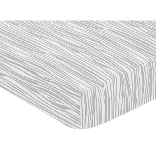 Sweet Jojo Designs Grey and White Stag Collection Wood Grain Print Fitted Crib Sheet