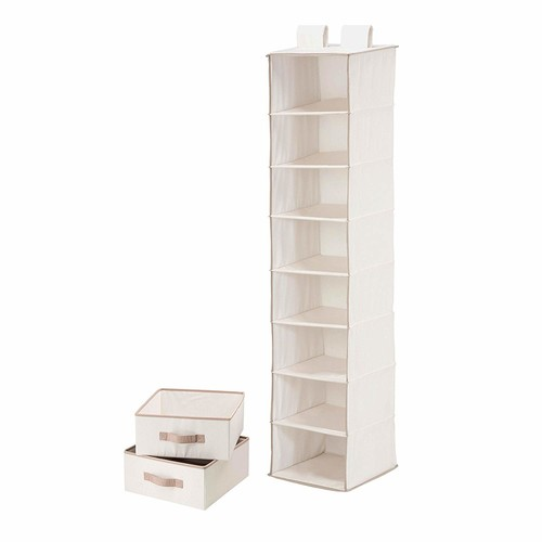 Honey-Can-Do SFT-01747 8-Shelf Hanging Vertical Closet Organizer with 2-Pack Drawers, Canvas, 12L x 12W x 54H