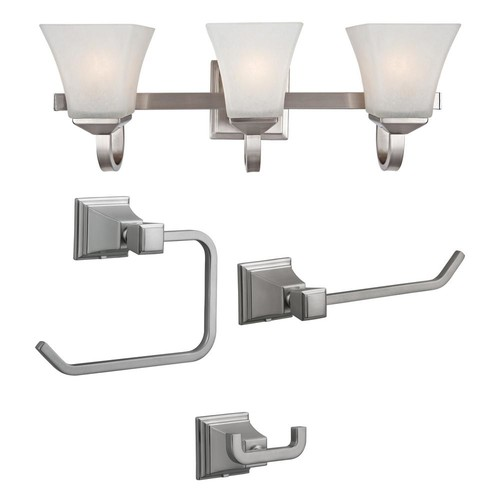 Design House Torino 3-Light Satin Nickel Vanity Light with Torino 3-Piece Satin Nickel Bathroom Accessory Kit
