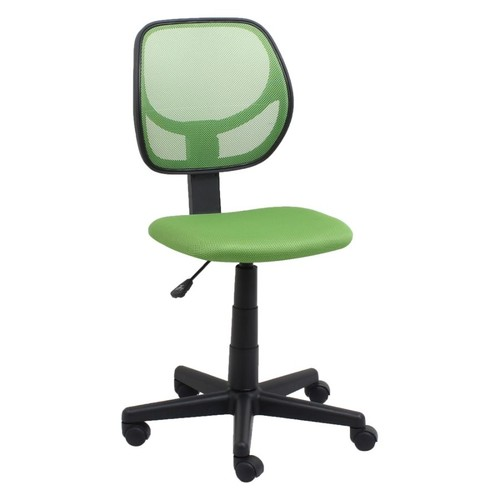 OFM Essentials Armless Mesh/Fabric Low-Back Task Chair, Green/Black