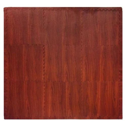 Tadpoles Wood Grain Dark Wood 36 in. x 36 in. EVA Floor Mat Set