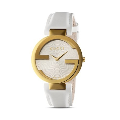 GUCCI Interlocking Watch With Leather Strap, 37Mm