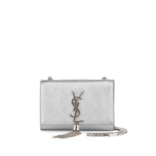 SAINT LAURENT Monogram Metallic Leather Crossbody Bag, Silver