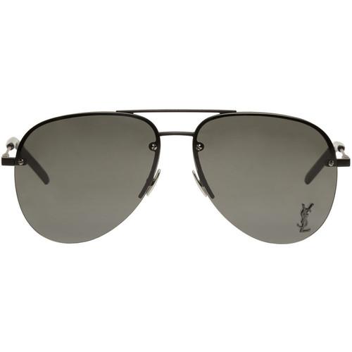 SAINT LAURENT Black Monogram M11 Aviator Sunglasses