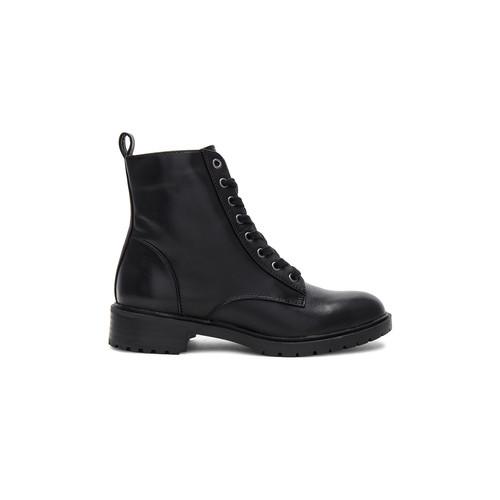 Steve Madden Officer Boot in Black Leather