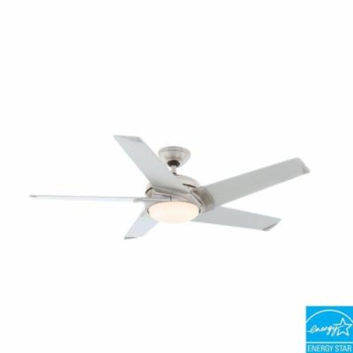 Casablanca Stealth 54 in. Indoor Brushed Nickel Ceiling Fan with Light Kit and Universal Wall Control