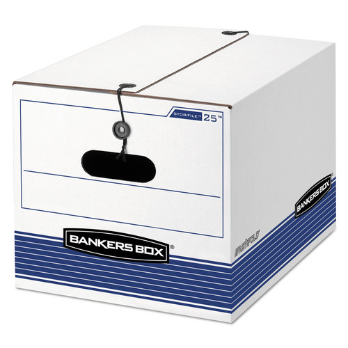 Bankers Box FEL00025 STOR/FILE Extra Strength Storage Box, Letter/Legal, White/Blue, 12/Carton