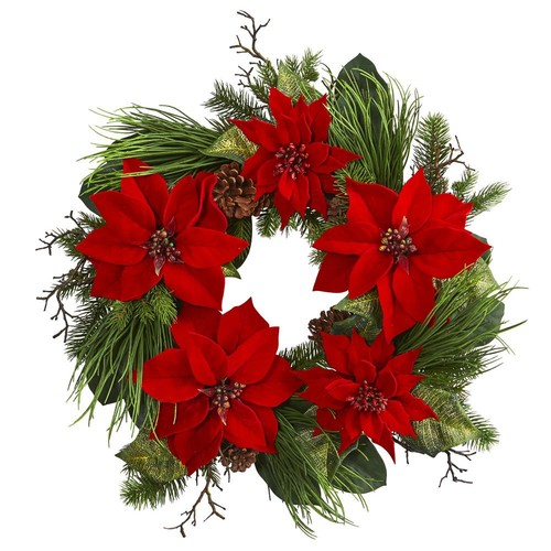 Nearly Natural 28 in. Poinsettia and Pine Wreath
