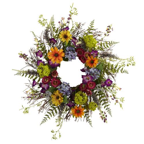 24 Spring Garden Wreath With Twig Base