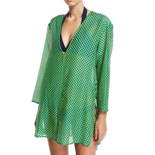DIANE VON FURSTENBERG Long-Sleeve V-Neck Tied Mini Dress, Green