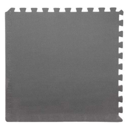 Stalwart Grey 24 in. x 24 in. x 0.375 in. Interlocking EVA Foam Floor Tile (6-Pack)
