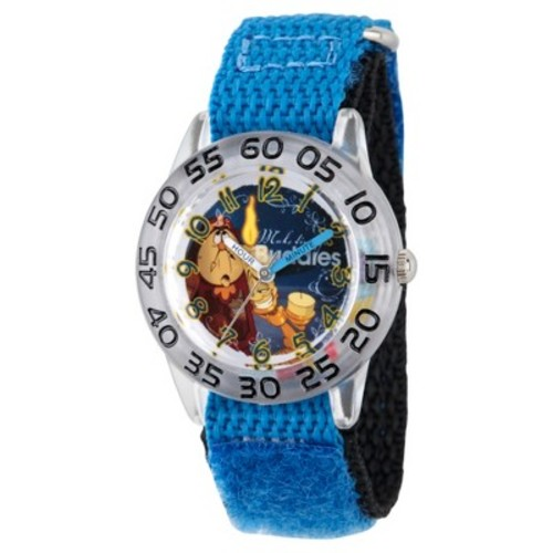 Boys' Disney Beauty and Beast Cogsworth, Lumiere and Mrs. Potts Clear Plastic Time Teacher Watch - Blue