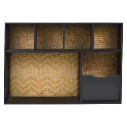 Framed Chevron Printed Wall Organizer with 5 Compartments 26