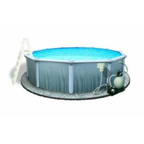 Blue Wave Martinique 27 ft. Round 52 in. Deep 7 in. Top Rail Metal Wall Swimming Pool Package