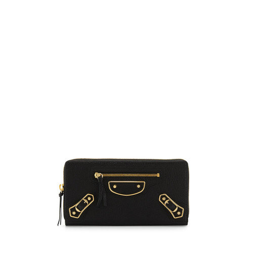 BALENCIAGA Metallic Edge Zip-Around Wallet, Black