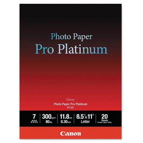 Canon CNM2768B022 Photo Paper Pro Platinum, High Gloss, 8-1/2 x 11, 80 lb., White, 20 Sheets/Pack