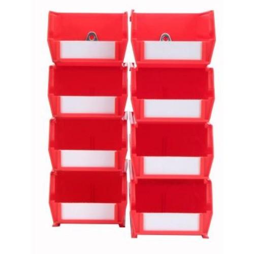 LocBin 4-1/8 in. W x 3 in. H Red Wall Storage Bin Organizer (8-Piece)