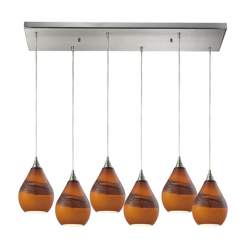 Elk Dunes 6-light Pendant in Satin Nickel and Shadow Glass
