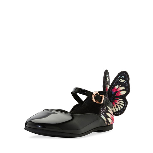 Chiara Butterfly-Wing Flat, Black Pattern, Toddler/Youth