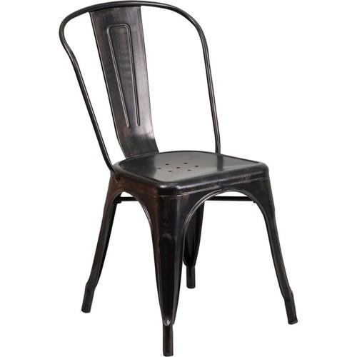 Flash Furniture Metal Indoor/Outdoor Stackable Chair  Black/Antique Gold, Model# CH31230BQ