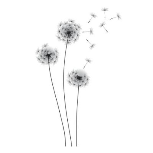 RoomMates 19 in. Black Whimsical Dandelion Peel and Stick Giant Wall Decals