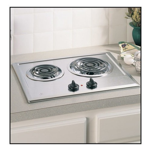 Ge JP201CBSS Built-In Electric Cooktop, 2-Burner, Stainless Steel, 21.25 X 16.62 X 3