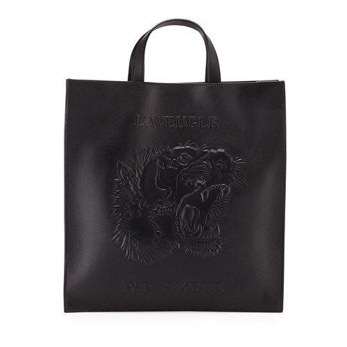 GUCCI Men'S Embossed Leather L'Aveugle Par Amour Tiger Tote, Black