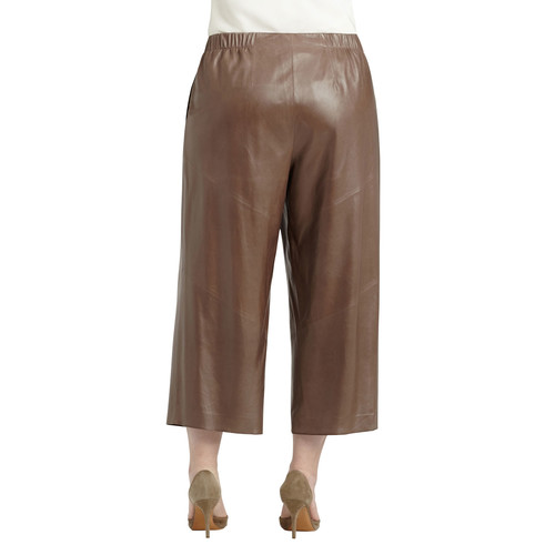 Leather Cropped Pants, Black, Women