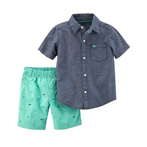 Boys 4-8 Carter's Button-Up Chambray Top & Anchor Print Shorts Set