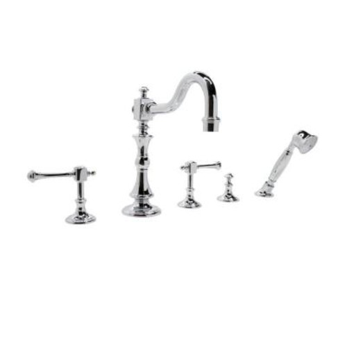 ANZZI Kitt Series 3-Handle Deck-Mount Roman Tub Faucet with Handheld Sprayer in Polished Chrome