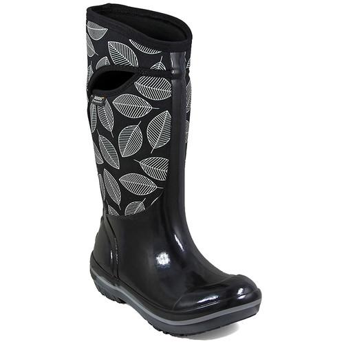 BOGS Womens Plimsoll Leafy Tall Waterproof Winter Boots, Black Multi