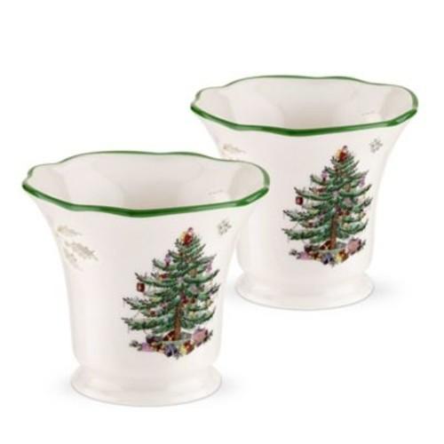 Spode Christmas Tree Pierced Tea Light Holder w/ Tea Lights (Set of 2)