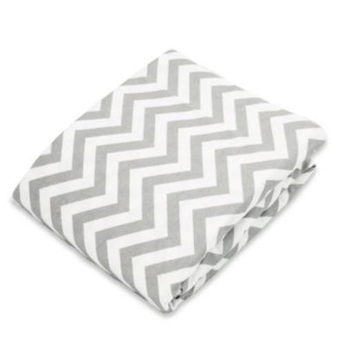 kushies Flannel Portable Play Pen Fitted Sheet In Chevron Grey