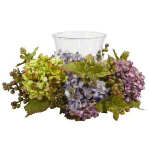 Nearly Natural 7 in. H Pastel Mixed Hydrangea Candelabrum Silk Arrangement