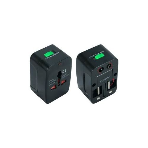 QVS Travel Power Adapter with Surge Protection